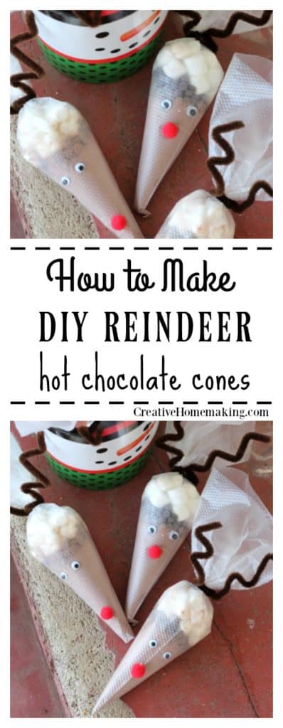Easy DIY reindeer hot cocoa cones make a great hot chocolate party favor or a simple DIY holiday gift for friends and family.