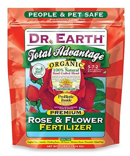 Dr. Earth 702P Organic 3 Rose & Flower Fertilizer in Poly Bag, 4-Pound