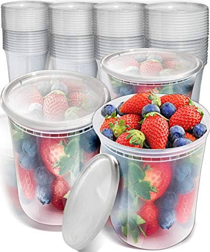 40pk 32oz Plastic Containers with Lids - Freezer Containers Deli Containers with Lids - Soup Containers Plastic Food Storage Containers with lids - Plastic Container Plastic Food Containers with Lids