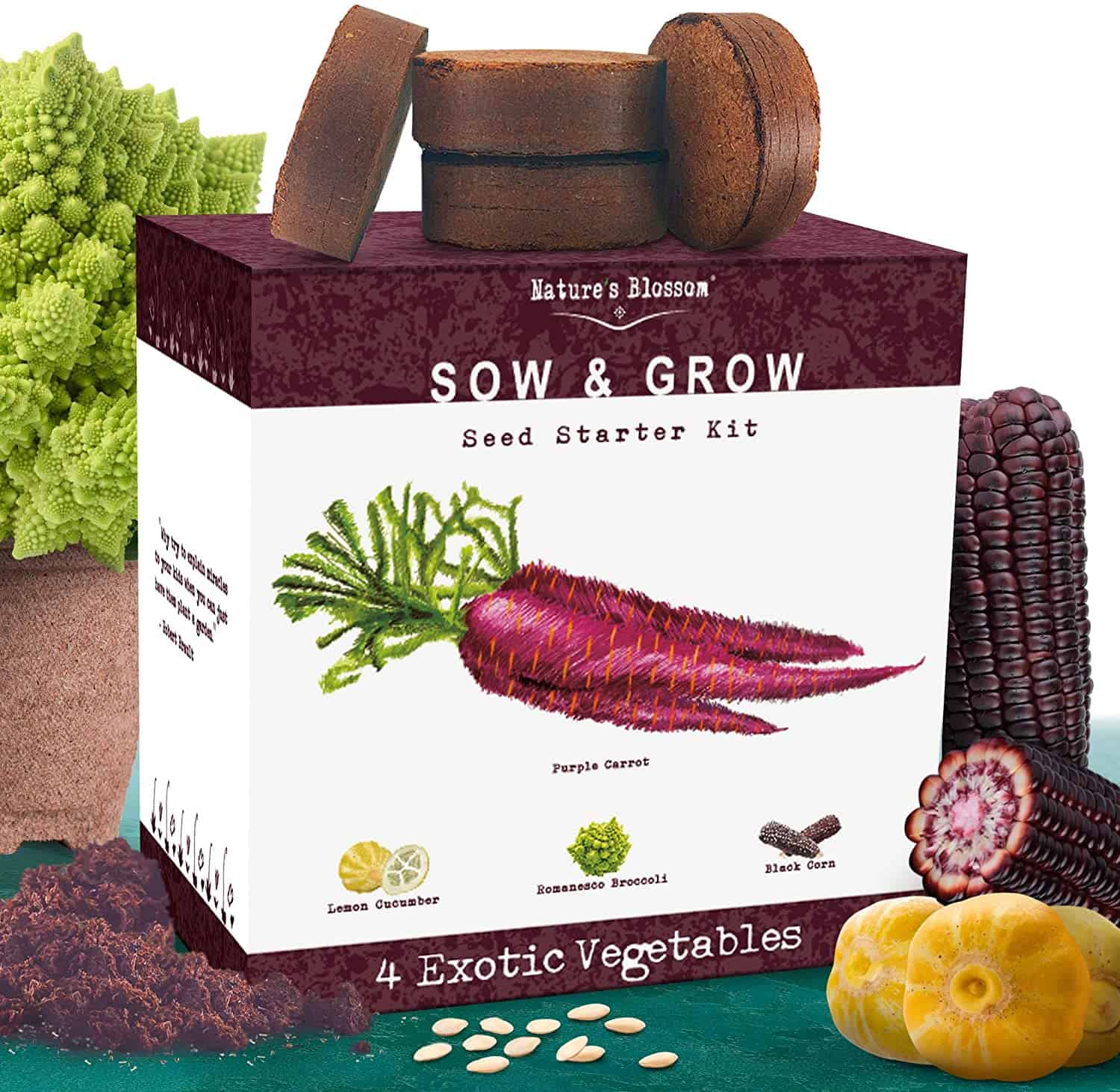 Nature's Blossom Exotic Vegetables Growing Kit. 4 Unique Plants To Grow From Seed