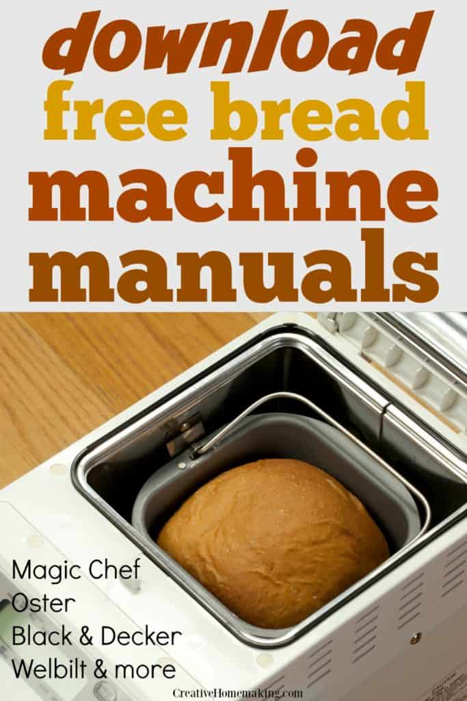 Download free bread machine manuals for your bread machine.