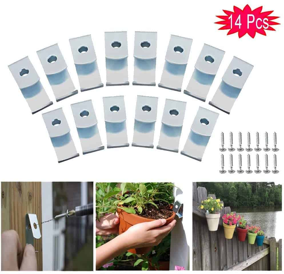 14-Pack Flower Plant Pot Clips Klips Holders Hangers Hooks Strong Durable Hard Galvanized Steel for Indoor/Outdoor Plant Terra Cotta Clay Pot