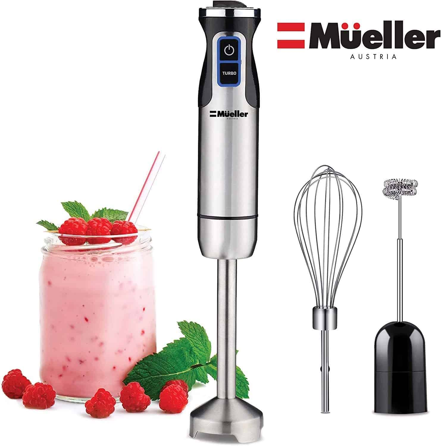Ultra-Stick 500 Watt 9-Speed Immersion Multi-Purpose Hand Blender Heavy Duty Copper Motor Brushed Stainless Steel Finish With Whisk, Milk Frother Attachments, Silver