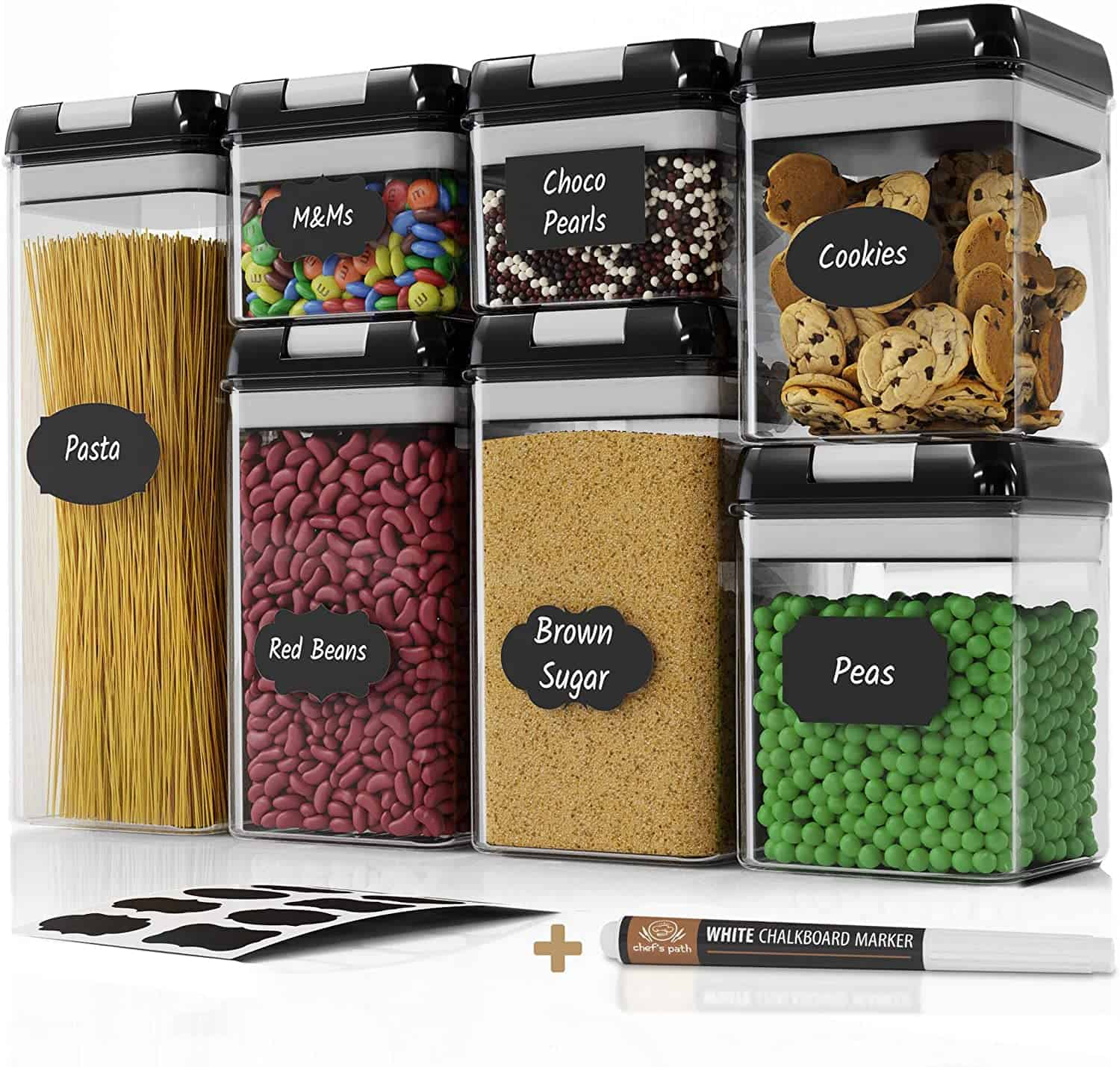 Chef's Path Airtight Food Storage Container Set - 7 PC Set - Labels & Marker - Kitchen & Pantry Organization Containers - BPA-Free - Clear Plastic Canisters for Flour, Cereal with Improved Lids