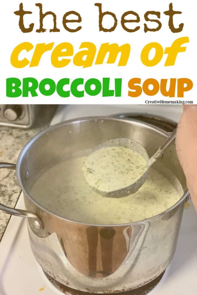 Easy recipe for cream of broccoli soup with heavy cream. My favorite homemade soup recipe!