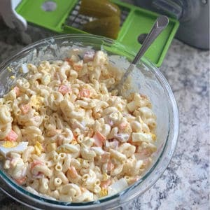 Easy classic macaroni salad. One of my favorite summer barbecue recipes.