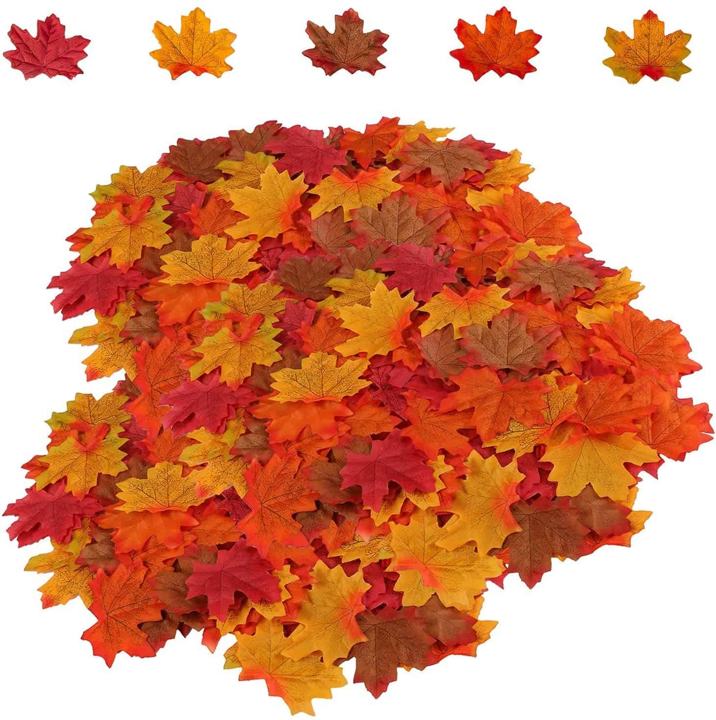 Artificial Maple Leaves 5 Assorted Mixed Fake Fall Maple Leaf Lifelike Looking Silk Autumn Leaf Garland