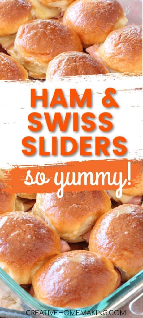 Easy recipe for ham and swiss sliders. My favorite sliders recipe made with hawaiian sweet rolls!