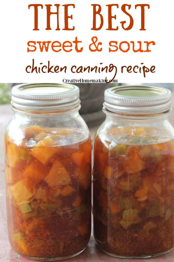 Easy recipe for canning sweet and sour chicken. One of my favorite pressure canning recipes for quick meals.