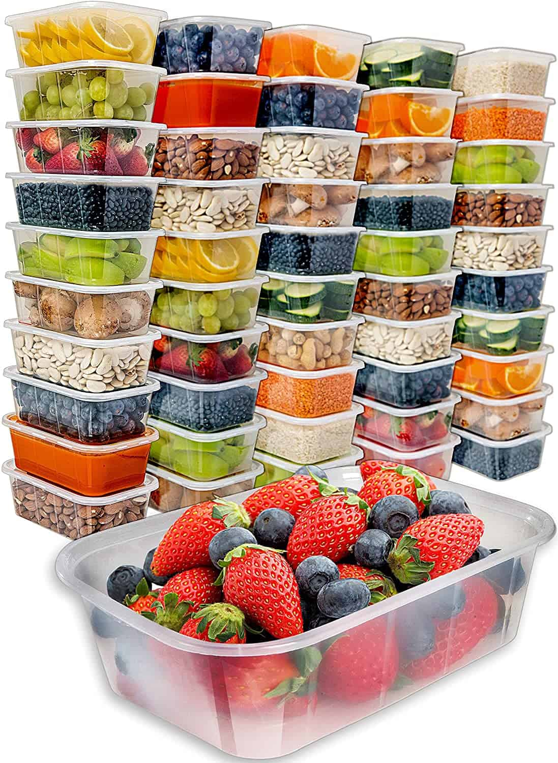 Food Storage Containers with Lids (50 Pack, 25 Ounce) - Food Containers Meal Prep Plastic Containers with Lids Food Prep Containers Deli Containers with Lids Freezer Containers