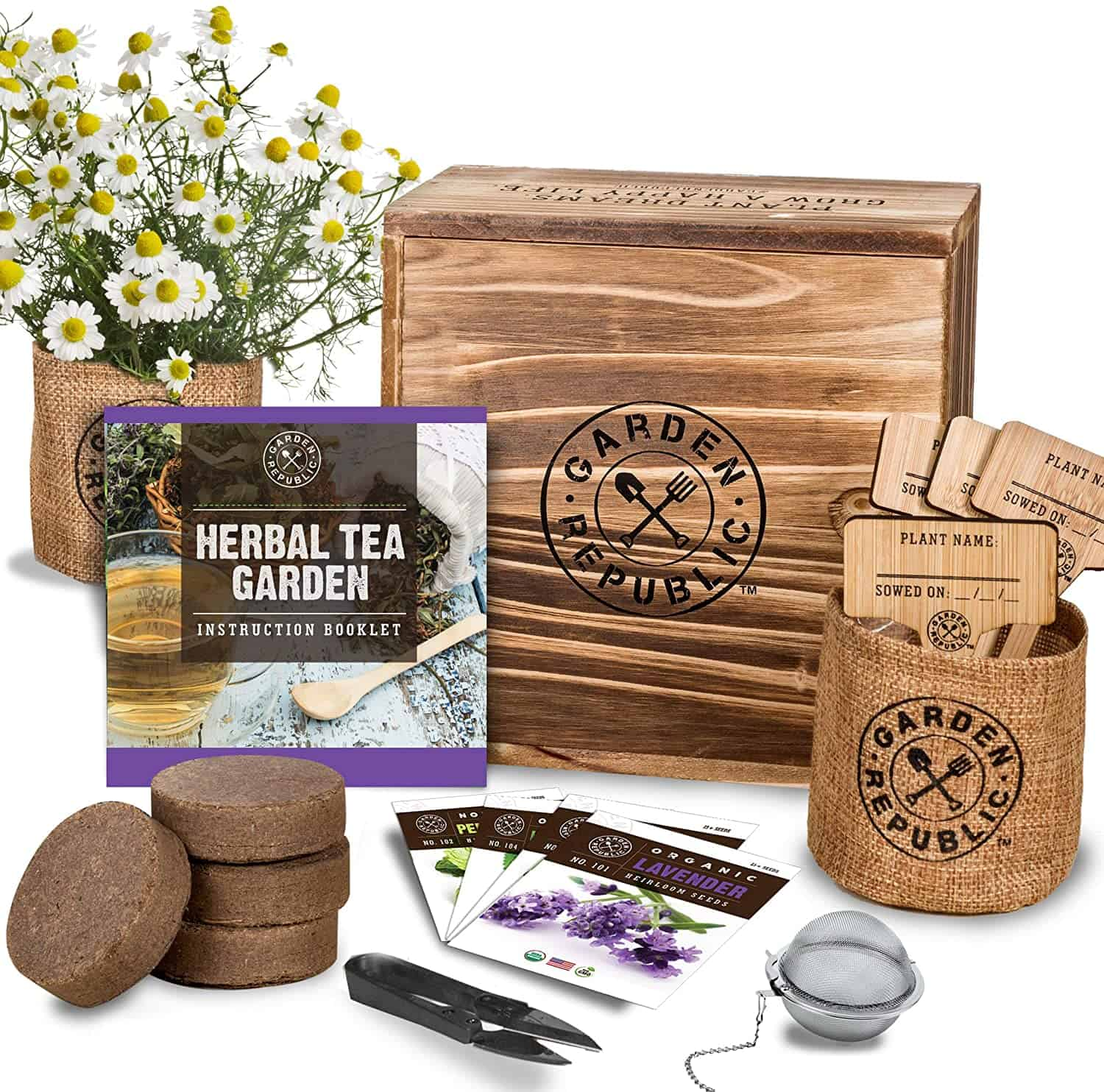 Indoor Herb Garden Seed Starter Kit - Herbal Tea Growing Kits, Grow Medicinal Herbs Indoors, Lavender, Chamomile, Lemon Balm, Mint Seeds for Planting, Soil, Plant Markers, Pots, Infuser, Planter Box